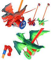Каталочка игрушка H-8 (1793701) динозавр,2 вида, на палочке, в пакете 21,5*15*15см