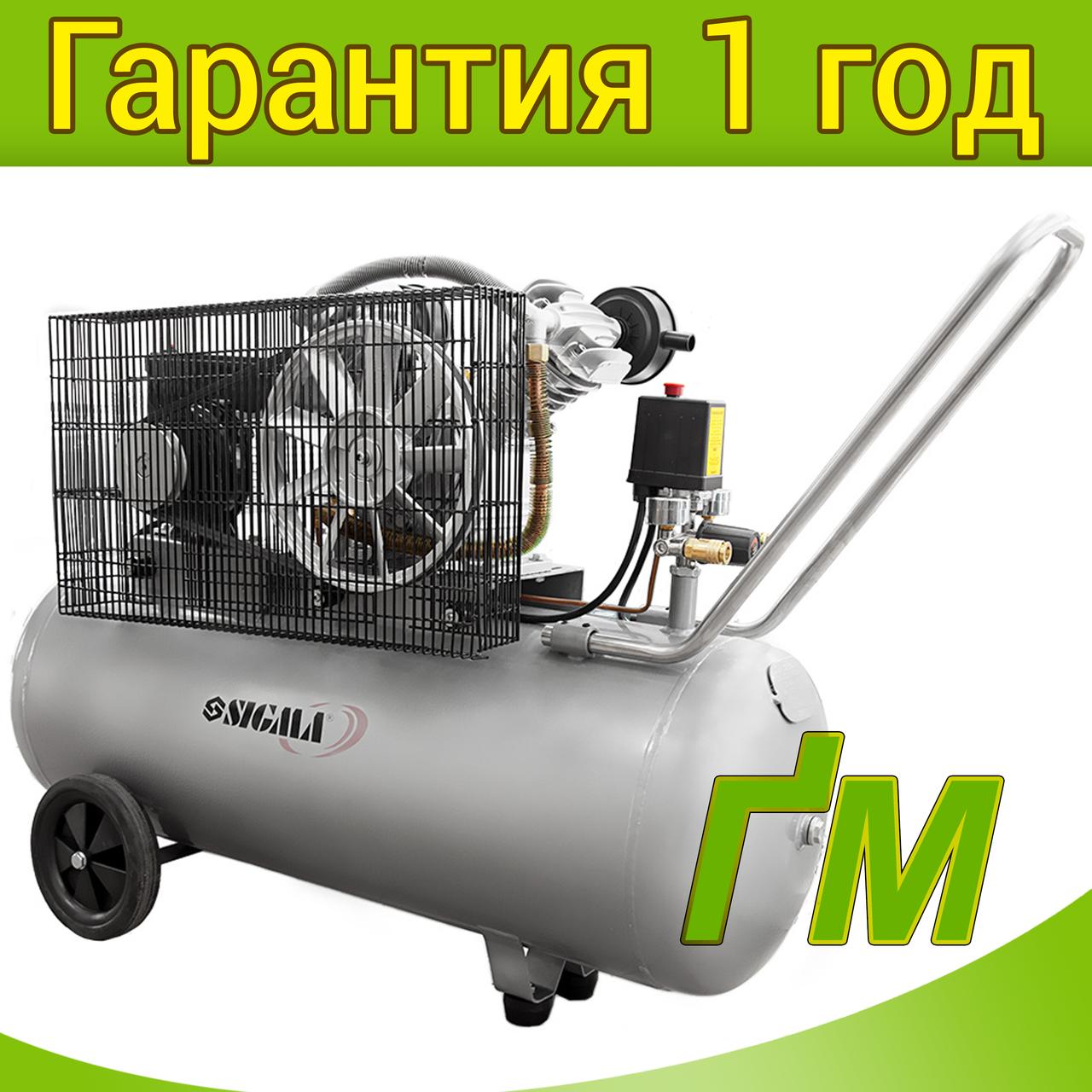 Компрессор двухцилиндровый ременной 2.5 кВт, 396 л/мин, 10 бар, 100 л SIGMA (2 крана)