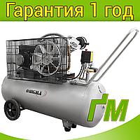 Компрессор двухцилиндровый ременной 2.5 кВт, 396 л/мин, 10 бар, 100 л SIGMA (2 крана), фото 1