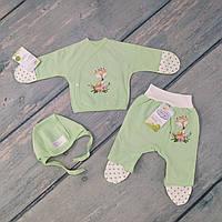 Комплект одежды байковый для новорожденной девочки в роддом (футер), р. 56