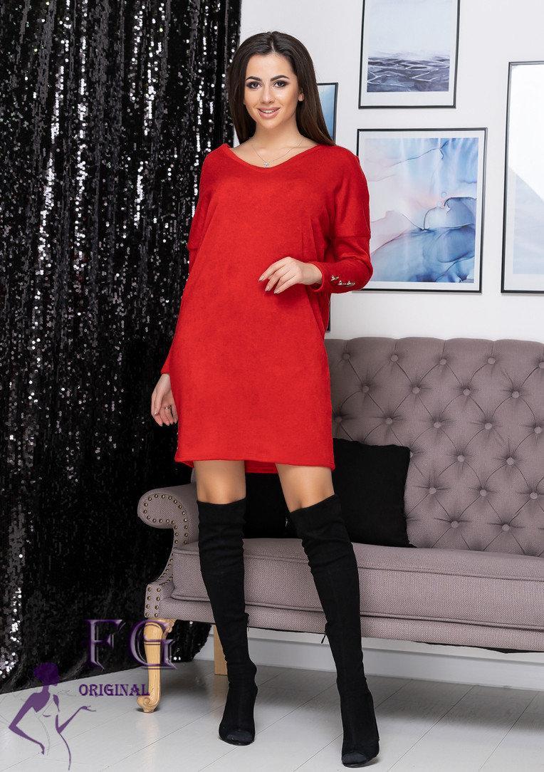 Платье красное оверсайз ангоровое