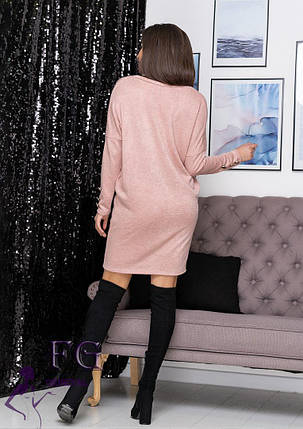 Стильне плаття оверсайз ангоровое кольору фрез, фото 2