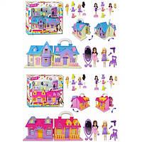Домик для куклы TM622AB  2 вида,раскладной,с куколками,зеркалом,фен,стульчик,платья,аксесс в кор.