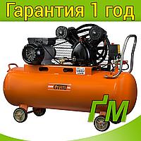 Компрессор ременной V 2.5 кВт, 378 л/мин, 8 бар, 100 л GRAD (2 крана), фото 1