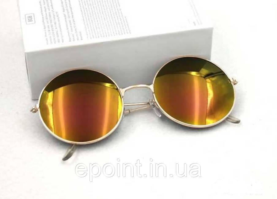 e4b413b21d29 Солнцезащитные круглые очки металлическая оправа золотистого цвета, желтые  линзы - Интернет-магазин