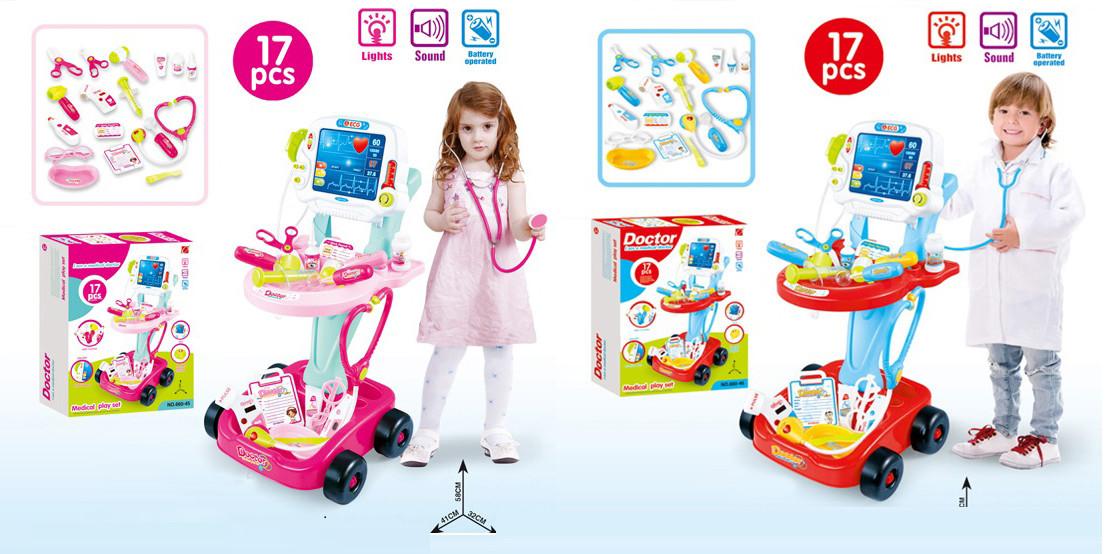 Купить Набор детский игровой доктора 660-45/6 батар, 2 вида, свет/звук, мед столик, монитор, мед ин-ты, в кор.49*12, 7Toys