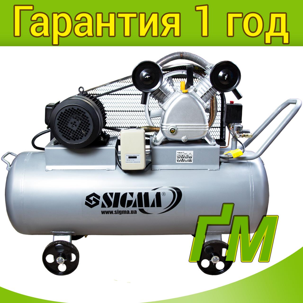 Компрессор ременной двухцилиндровый 4 кВт, 700 л/мин, 10 бар, 150 л SIGMA