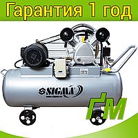 Компрессор ременной двухцилиндровый 4 кВт, 700 л/мин, 10 бар, 150 л SIGMA, фото 1