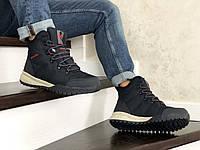 Мужские зимние ботинки на меху Columbia, кожа, термоплащевка, пена, синие.
