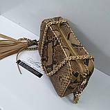 Женская бежевая сумочка STELLA на цепочке из питона, фото 2