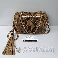 Женская бежевая сумочка STELLA на цепочке из питона