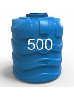 Бочка пластиковая вертикальная трехслойная синяя объемом 500 литров.