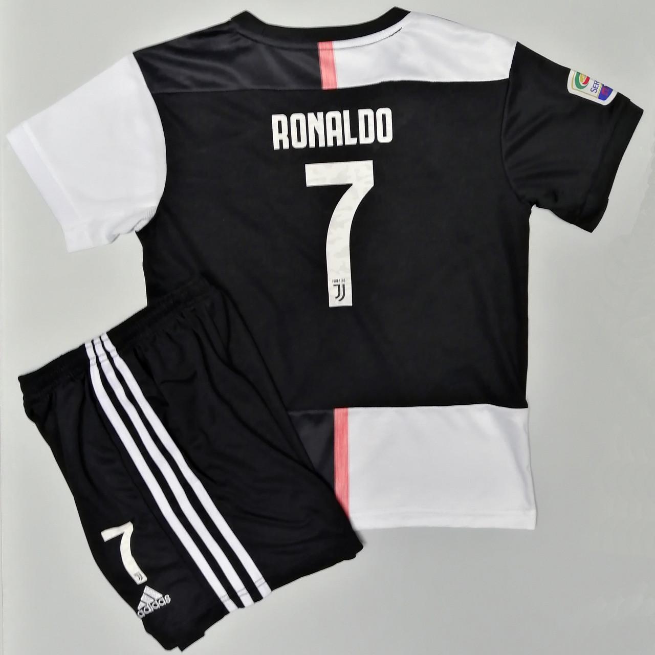 Футбольная форма ювентус Роналдо детская 2019-2020 домашняя черно-белая