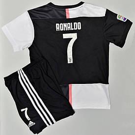 Футбольная форма ювентус Роналду детская 2019-2020 домашняя черно-белая