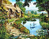 Картина по номерам на холсте 40х50см Коттедж у озера