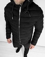 Тёплая мужская зимняя куртка черная с капюшоном (S M L XL XXL)