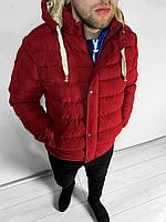 Тёплая мужская зимняя куртка красная с капюшоном (S M L XL XXL)