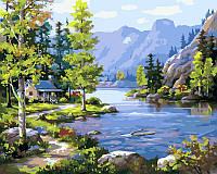 Картина для рисования по номерам Пейзаж Домик у ручья 40х50см Babylon Turbo
