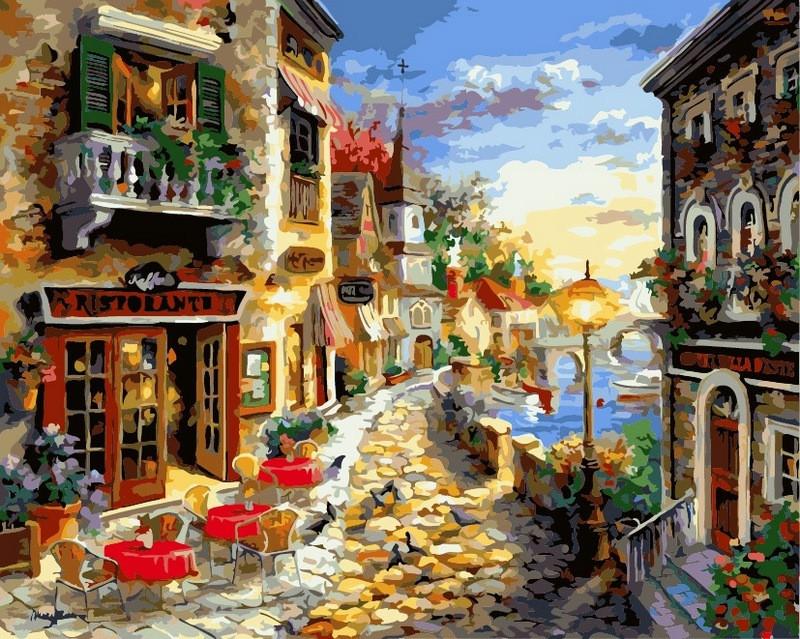 Картина по номерам на холсте 40х50см Прибрежный ресторан