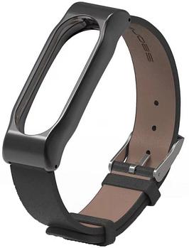 Ремешок Xiaomi Mi Band 2 кожаный браслет Mijobs - Черный