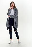 Кардиган женский серый с длинным рукавом