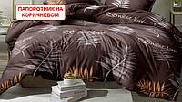 Полуторний підодіяльник з ранфорсу - Папороть на коричневому