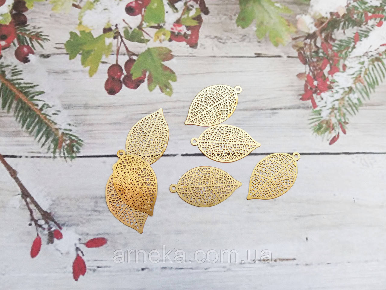 Філігрань листок під золото 2.7 см