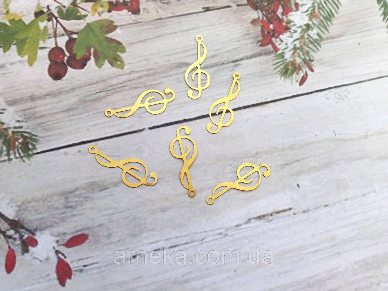 Филигрань Скрипичный ключ  под золото  2.5*1  см