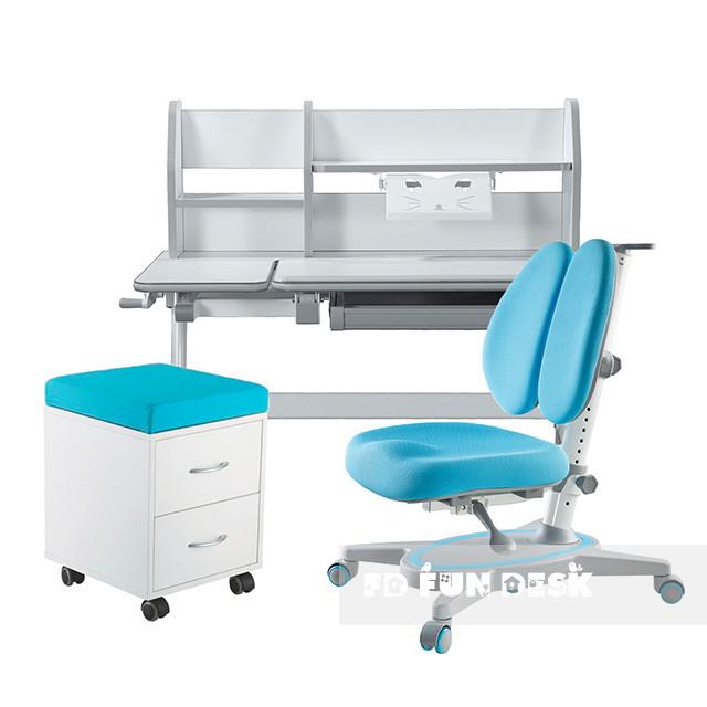 Комплект для школьников Fundesk парта Magico Grey+ортопедическое кресло Primavera II Blue+тумбочка SS15W