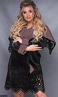 Дубленка женская молодежная большого размера 856540-4 черный