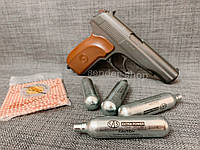 Пистолет Макарова пневмат ПМ подвижный затвор БЛОУБЭК- полная копия + ВИДЕО, фото 1