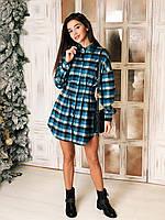Платье рубашка женское стильное в клетку
