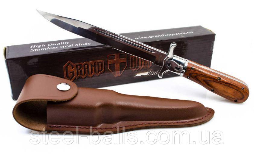 Нож складной с кожаным чехлом