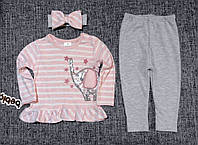 """Нарядный Костюм для новорожденной девочки с повязочкой """"Слоник"""" 100% хлопок Турция р. 9, 18 мес., фото 1"""
