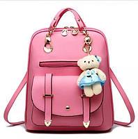 Женский рюкзак городской Винтаж с брелком мишкой Тедди,Candy Bear Розовый