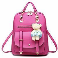 Женский рюкзак городской Винтаж с брелком мишкой Тедди,Candy Bear Малиновый