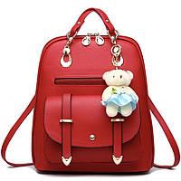 Женский рюкзак городской Винтаж с брелком мишкой Тедди,Candy Bear Красный