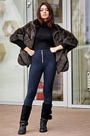 Теплые брюки-легенсы из плотного трикотажа с молнией спереди синего цвета