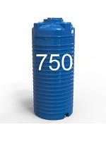 Емкость пластиковая двухслойная вертикальная 750 литров узкая.