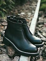 Ботильоны ботинки женские зимние-демисезонные из натуральной кожи..черные 36