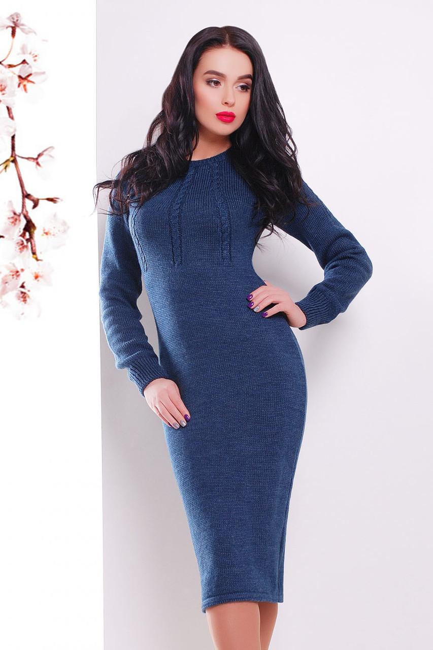 S-L / В'язане жіноче плаття Cardo, синій