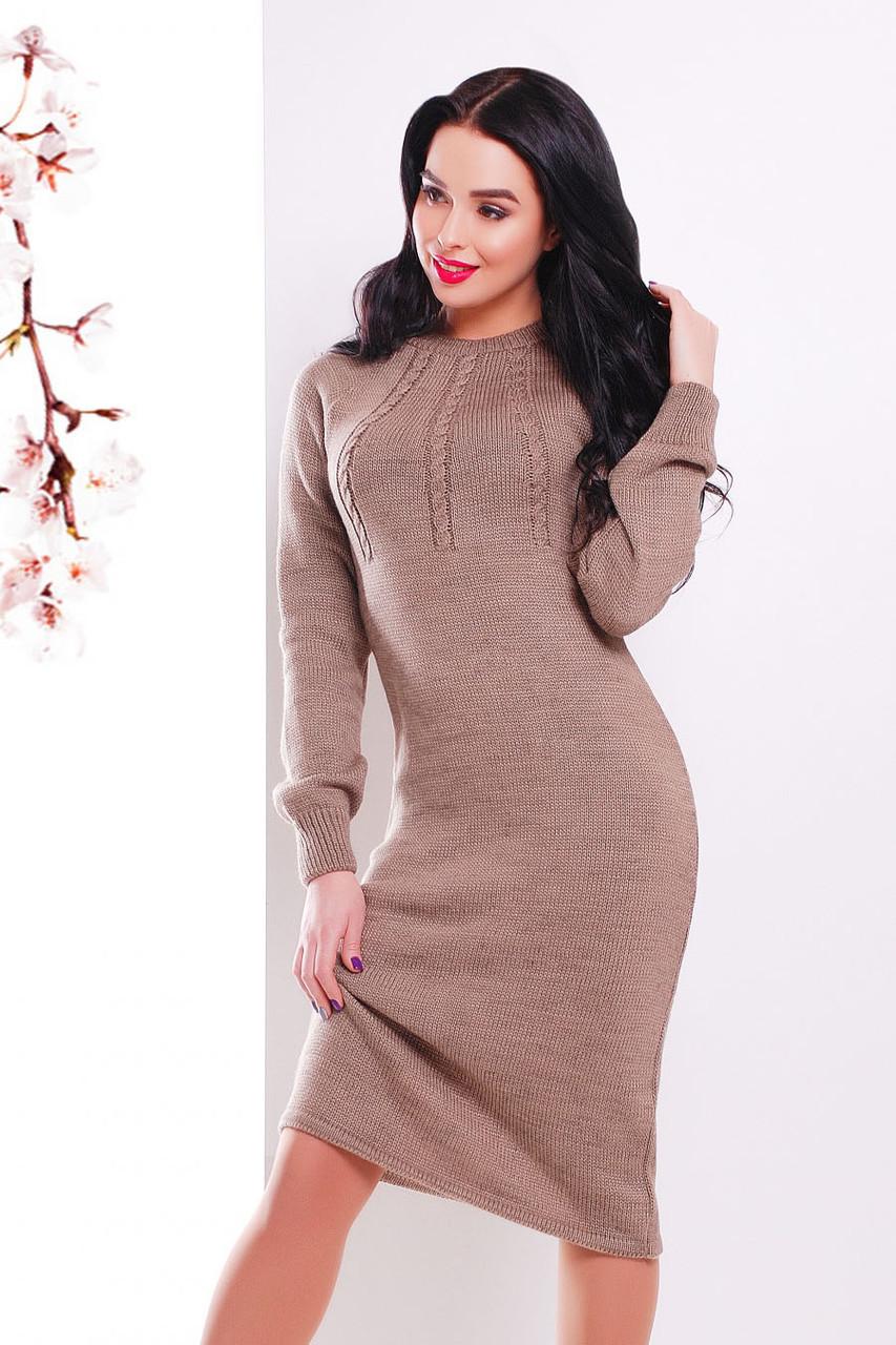 S-L / В'язане жіноче плаття Cardo, кавовий