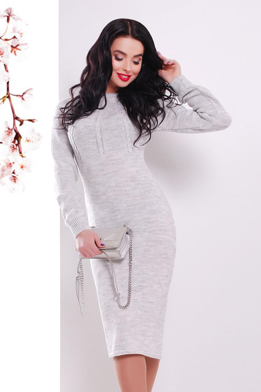 S-L / В'язане жіноче плаття Cardo, світло-сірий