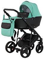Детская коляска 2 в 1 Bair Mirello кожа 100% M34 яркая мята - черный, фото 1