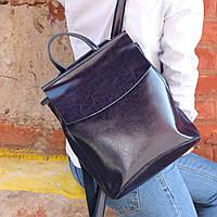 """Женский кожаный рюкзак-сумка(трансформер) """"Анжелика Blue""""- для формата А4"""