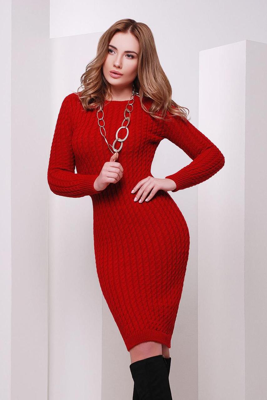 S-M / В'язане жіноче плаття SIren, червоний