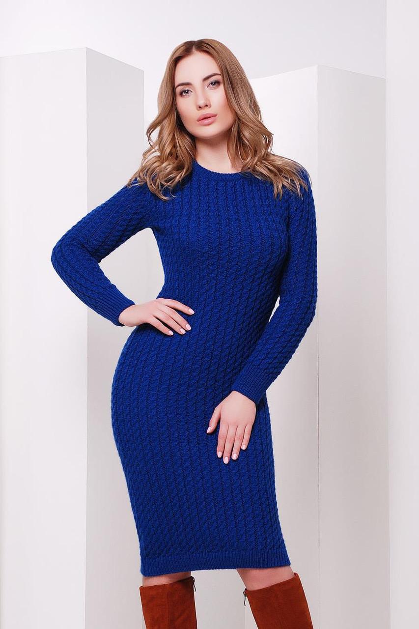 S-M / В'язане жіноче плаття SIren, синій