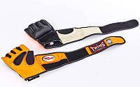 Оригинальные перчатки для смешанных единоборств MMA кожаные TWINS (р-р M-XL, черный-оранжевый)