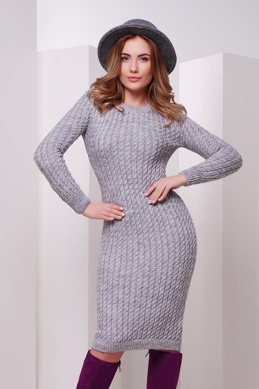 S-M / В'язане жіноче плаття SIren, сірий