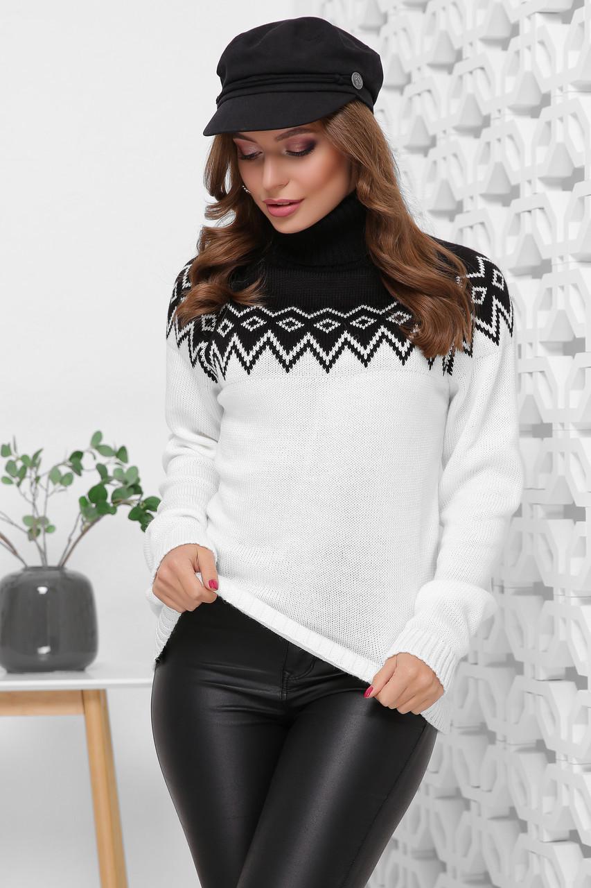 (S-L) Оригінальний жіночий в'язаний светр Terios, чорний-молоко